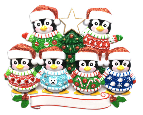 OR1602-6 - Ugly Sweater Family of 6 Personalized Christmas Ornament