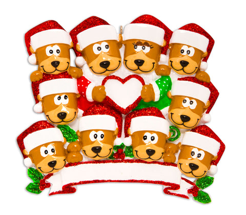 OR1604-10 - Brown Bear Family With Heart Family of 10 Personalized Christmas Ornament