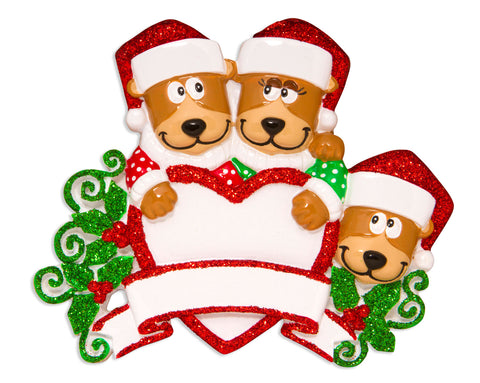 OR1604-3 - Brown Bear Family With Heart Family of 3 Personalized Christmas Ornament