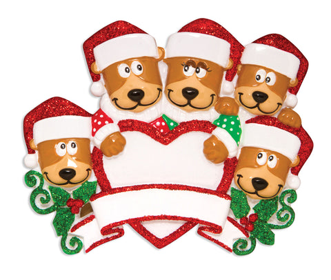 OR1604-5 - Brown Bear Family With Heart Family of 5 Personalized Christmas Ornament