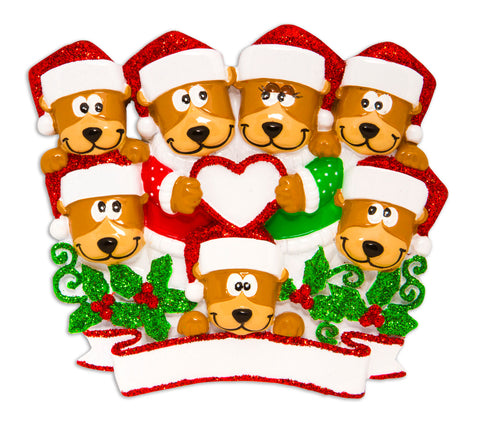 OR1604-7 - Brown Bear Family With Heart Family of 7 Personalized Christmas Ornament
