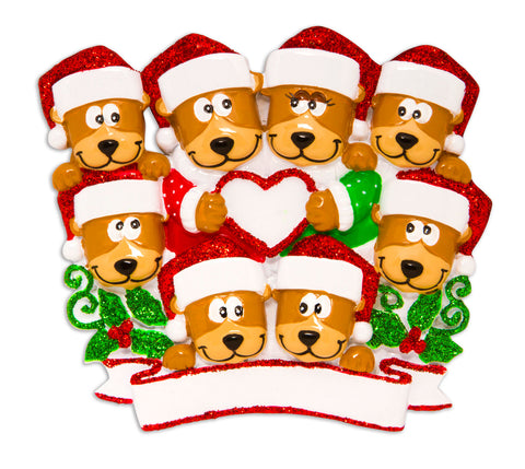 OR1604-8 - Brown Bear Family With Heart Family of 8 Personalized Christmas Ornament