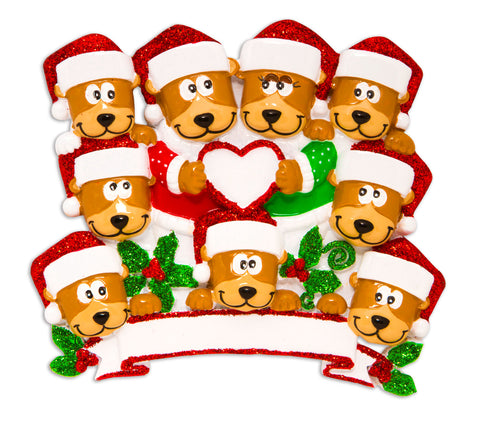 OR1604-9 - Brown Bear Family With Heart Family of 9 Personalized Christmas Ornament