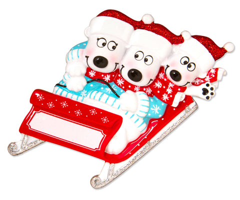 OR1605-3 - Bears on Sled of 3 Personalized Christmas Ornament