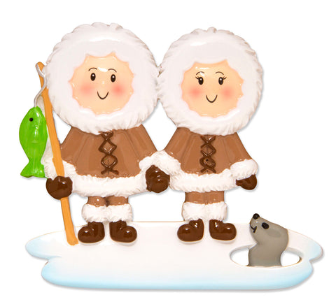 OR1607-2 - Eskimo Family Couple Personalized Christmas Ornament
