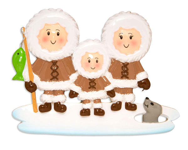OR1607-3 - Eskimo Family of 3 Personalized Christmas Ornament