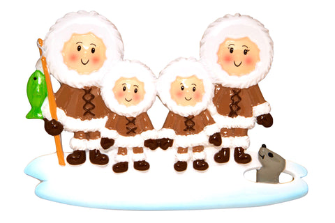 OR1607-4 - Eskimo Family of 4 Personalized Christmas Ornament