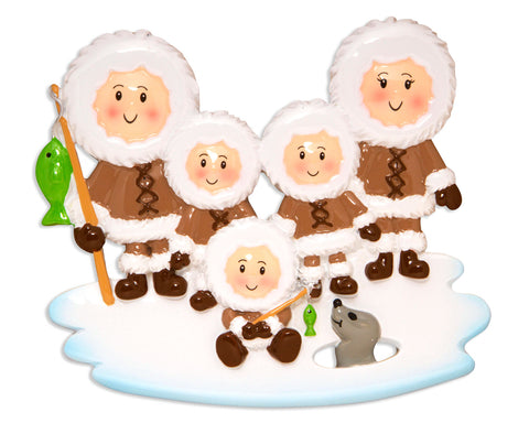 OR1607-5 - Eskimo Family of 5 Personalized Christmas Ornament