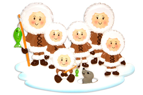 OR1607-6 - Eskimo Family of 6 Personalized Christmas Ornament