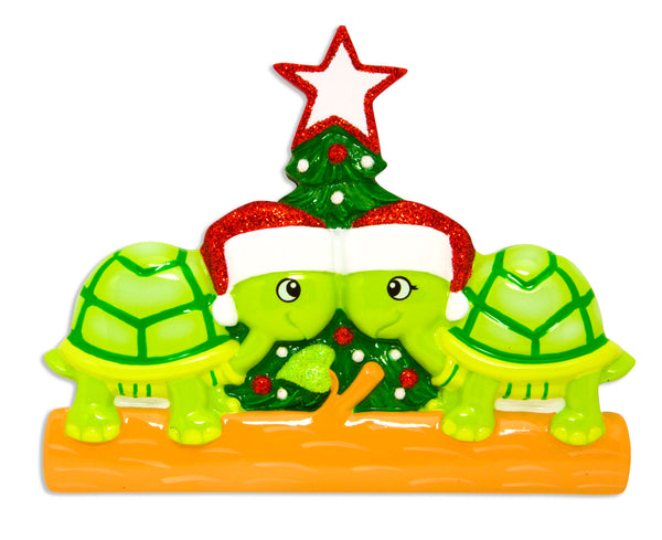 OR1608-2 - Turtle Family of 2 Personalized Christmas Ornament