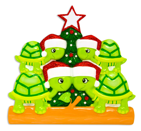OR1608-4 - Turtle Family of 4 Personalized Christmas Ornament
