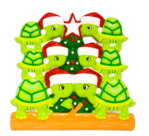 OR1608-6 - Turtle Family of 6 Personalized Christmas Ornament