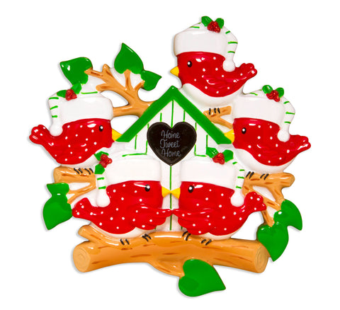 OR1609-5 - Bird Family of 5 Personalized Christmas Ornament