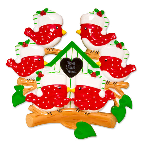 OR1609-6 - Bird Family of 6 For PC Personalized Christmas Ornament