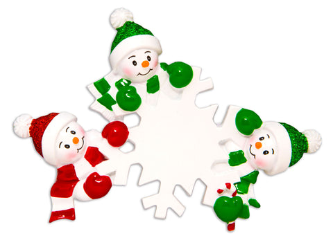 OR1610-3 - Dangling Snowman Family of 3 Personalized Christmas Ornament