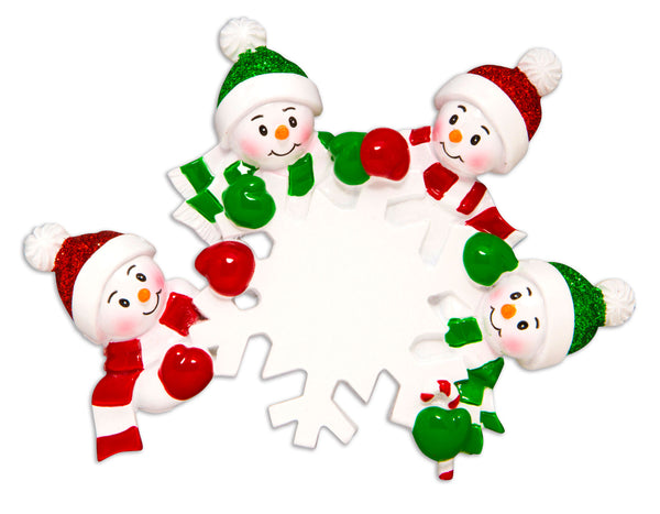 OR1610-4 - Dangling Snowman Family of 4 Personalized Christmas Ornament
