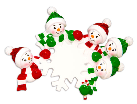 OR1610-5 - Dangling Snowman Family of 5 Personalized Christmas Ornament
