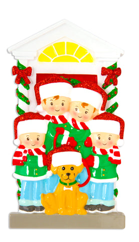OR1611-4 - Family of 4 with Dog Personalized Christmas Ornament