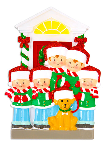 OR1611-5 - Family of 5 with Dog Personalized Christmas Ornament