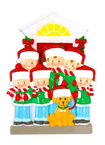 OR1611-6 - Family of 6 with Dog Personalized Christmas Ornament