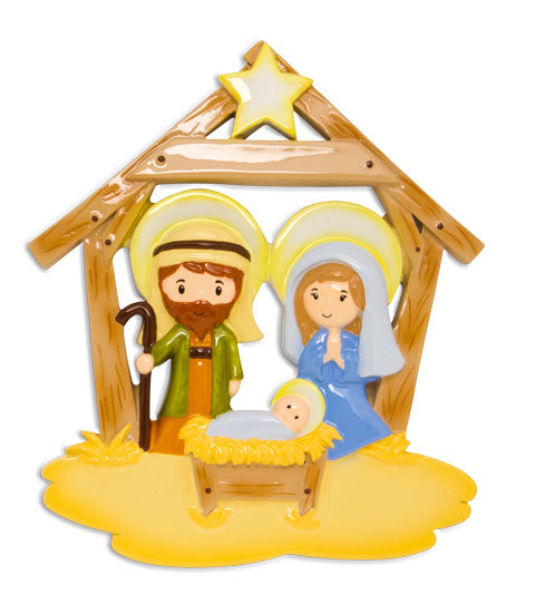 OR1624 - Jesus In Manger Personalized Christmas Ornament
