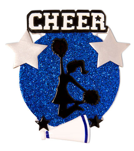 OR1625-B - Cheer Is Life Silhouette (Blue) Personalized Christmas Ornament