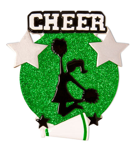 OR1625-G - Cheer Is Life Silhouette (Green) Personalized Christmas Ornament