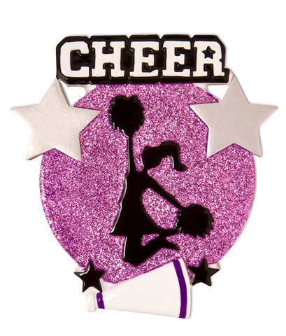 OR1625-P - Cheer Is Life Silhouette (Purple) Personalized Christmas Ornament