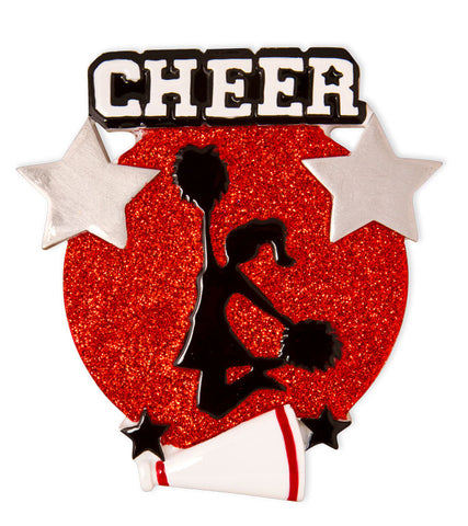 OR1625-R - Cheer Is Life Silhouette (Red) Personalized Christmas Ornament