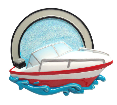 OR1632 - New Speed Boat Personalized Christmas Ornament