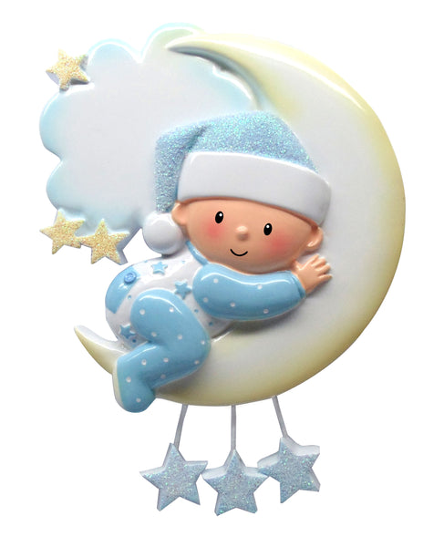 OR1637-B - Baby On Moon (Boy) Personalized Christmas Ornament
