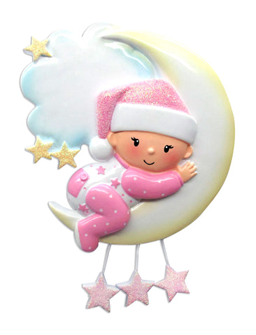 OR1637-P - Baby On Moon (Girl) Personalized Christmas Ornament
