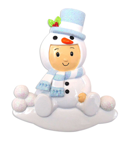 OR1639-B - Snowman Baby Boy Personalized Christmas Ornament