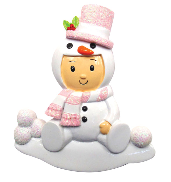 OR1639-P - Snowman Baby Girl Personalized Christmas Ornament