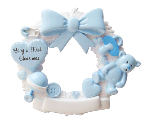 OR1640-B - Baby Christmas Wreath (Blue) Personalized Christmas Ornament