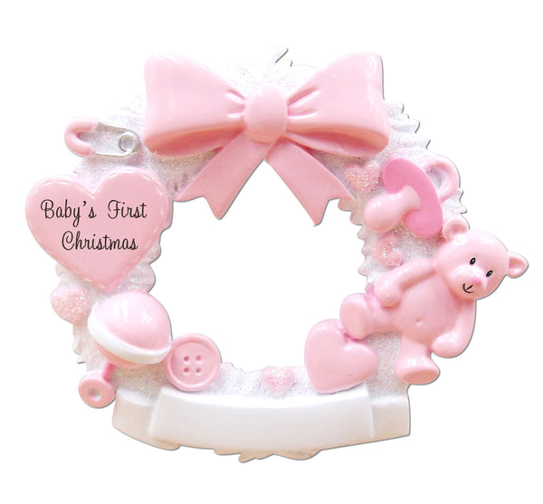 OR1640-P - Baby Christmas Wreath (Pink) Personalized Christmas Ornament