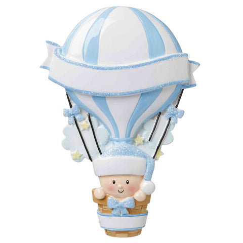 OR1642-B - Hot Air Balloon (Blue) Personalized Christmas Ornament