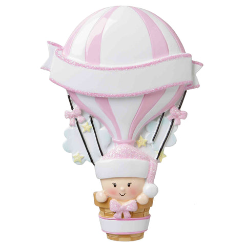 OR1642-P - Hot Air Balloon (Pink) Personalized Christmas Ornament