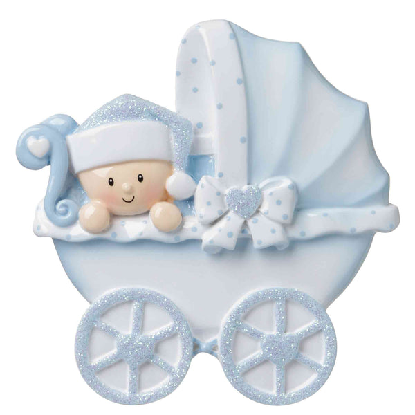 OR1643-B - Baby Carriage (Blue) Personalized Christmas Ornament