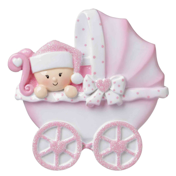 OR1643-P - Baby Carriage (Pink) Personalized Christmas Ornament