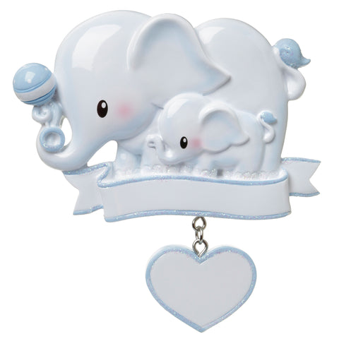 OR1644-B - Baby Elephant (Blue) Personalized Christmas Ornament