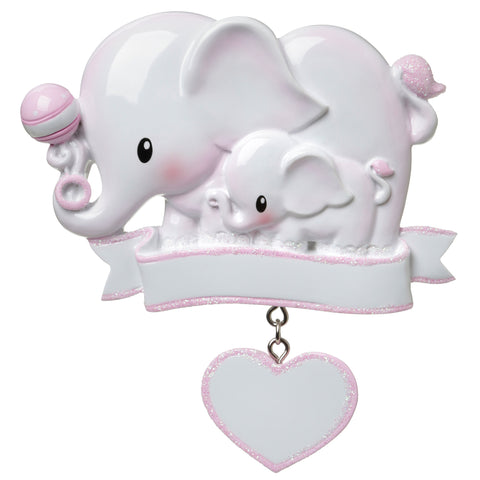 OR1644-P - Baby Elephant (Pink) Personalized Christmas Ornament