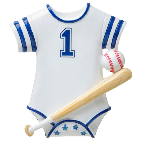 OR1645-B - Baseball Baby Onesie (Blue) Personalized Christmas Ornament
