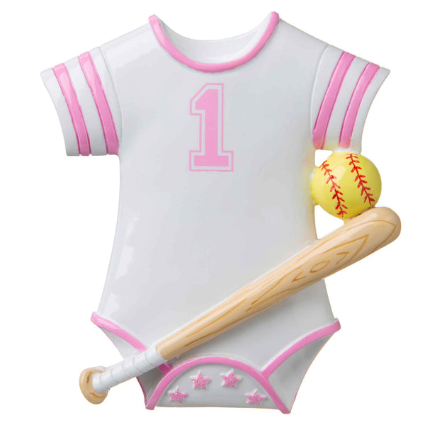 OR1645-P - Softball Baby Onesie (Pink) Personalized Christmas Ornament