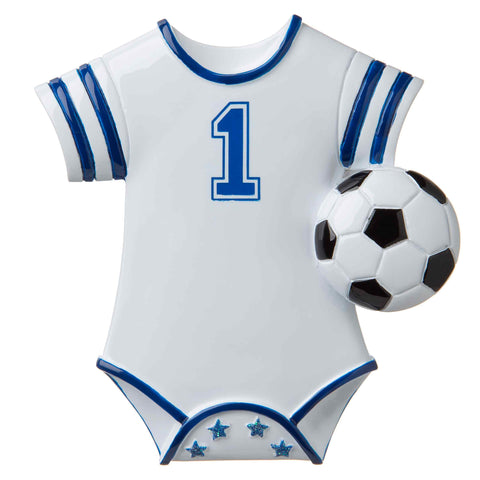 OR1646-B - Soccer Baby Onesie (Blue) Personalized Christmas Ornament