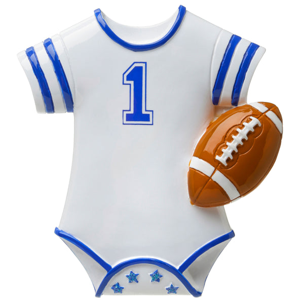 OR1647-B - Football Onesie (Blue) Personalized Christmas Ornament