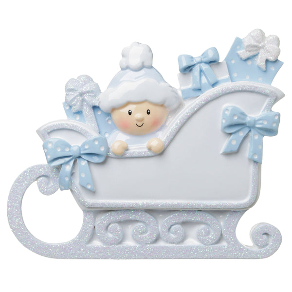 OR1649-B - Baby In A Sleigh (Blue) Personalized Christmas Ornament