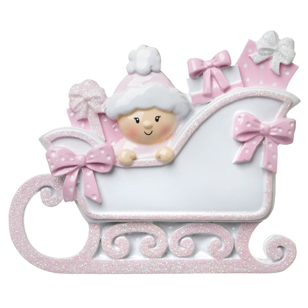 OR1649-P - Baby In A Sleigh (Pink) Personalized Christmas Ornament