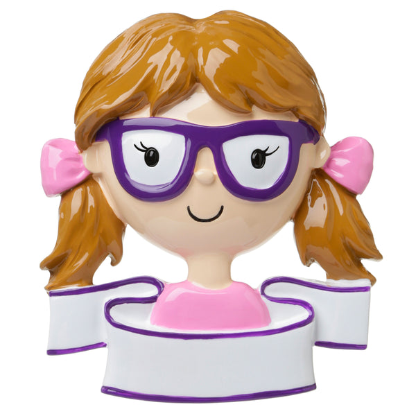 OR1657-G - Girl With Glasses Personalized Christmas Ornament