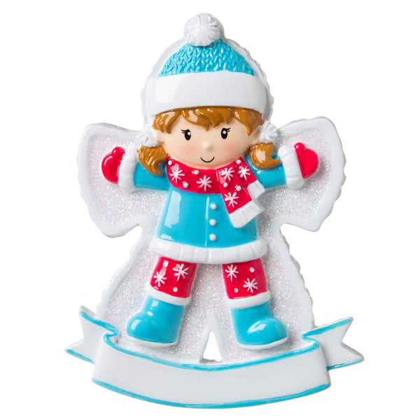 OR1662-G - Snow Angel (Girl) Personalized Christmas Ornament